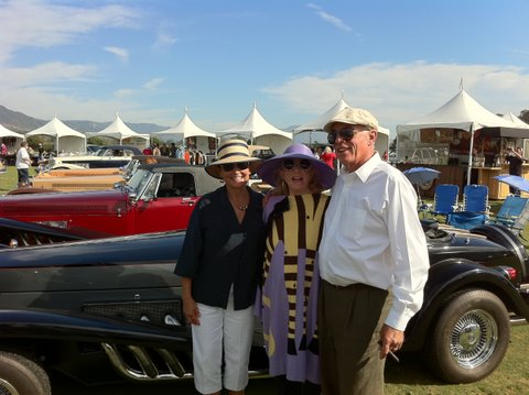 Kathy and Alain Clenet and I in front of a row of his 14 vintage Clenet cars.