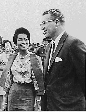 Queen Sirikit visits with Colonel William McKean, Commander of the 27th, and U.S. Ambassador to Thailand, Kenneth T. Young, Jr., June 1962.