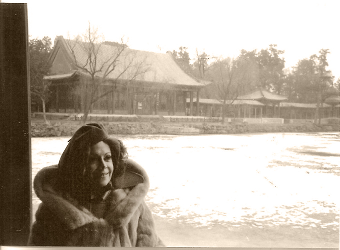 Jayne Meadows by the frozen lake at the Summer Palace