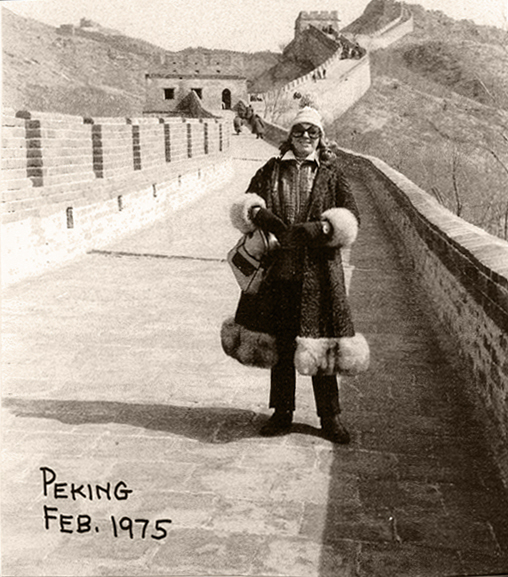 Beverley Jackson on the Great Wall of China, 1975.