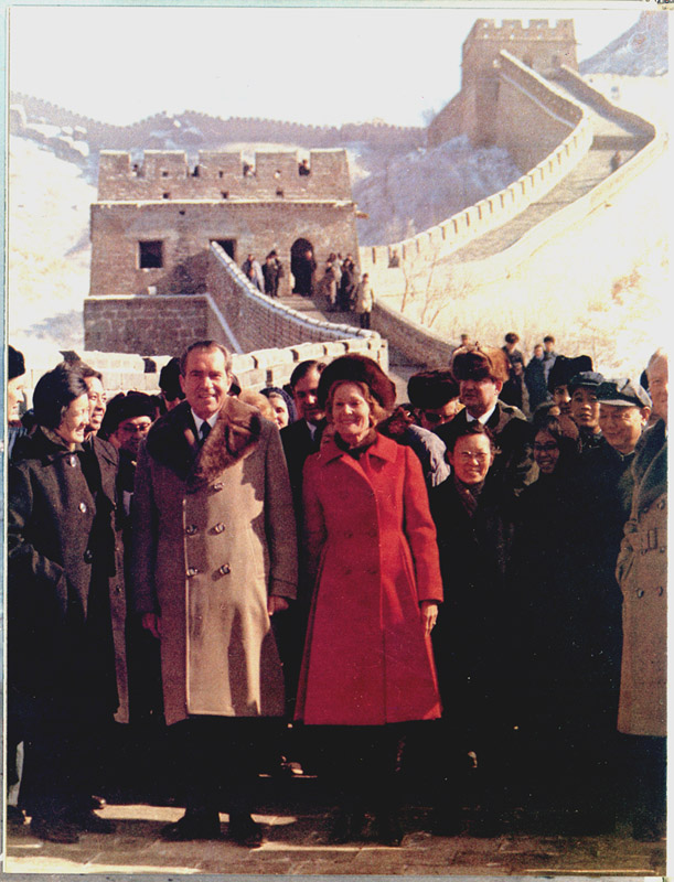 President and Mrs. Nixon visit the Great Wall of China and the Ming tombs. Photo by Byron E. Schumaker.
